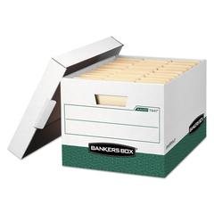 R-KIVE Max Storage Box, Letter/Legal, Locking Lid, White/Green, 12/Carton