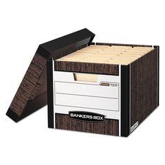 R-KIVE Max Storage Box, Letter/Legal, Locking Lid, Woodgrain, 4/Carton