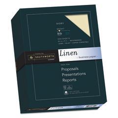 25% Cotton Linen Business Paper, 24 lb, 8 1/2 x 11, Ivory, 500/BX