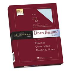 100% Cotton Premium Weight Linen Resume Paper, 32 lb, 8 1/2 x 11, Blue, 100/PK
