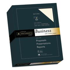 25% Cotton Business Paper, 24 lb, 8 1/2 x 11, Natural, 500/BX