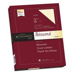 100% Cotton Resume Paper, 24 lb, 8 1/2 x 11, Ivory, 100/PK