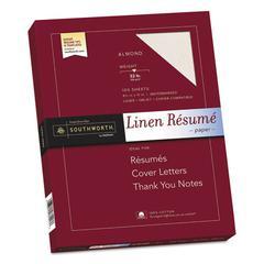 100% Cotton Premium Weight Linen Resume Paper, 32 lb, 8 1/2 x 11, Almond, 100/PK