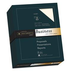 25% Cotton Business Paper, 95 Bright, 24 lb, 8.5 x 11, Ivory, 500/Ream