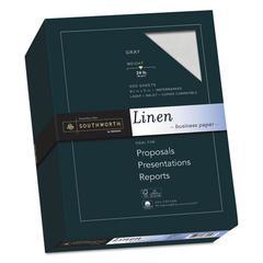 25% Cotton Linen Business Paper, 24 lb, 8 1/2 x 11, Gray, 500/BX