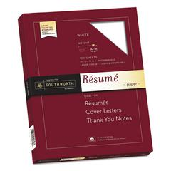 100% Cotton Resume Paper, 32lb, 95 Bright, 8 1/2 x 11, White, 100 Sheets