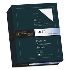 25% Cotton Linen Business Paper, 91 Bright, 24 lb, 8 1/2 x 11, White, 500/BX