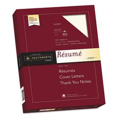 100% Cotton Resume Paper, 32 lb, 8 1/2 x 11, Ivory, 100/PK