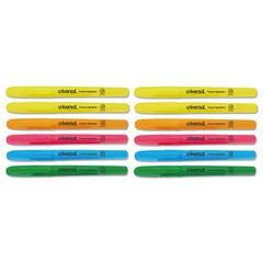 Pocket Clip Highlighter, Chisel Tip, Assorted Colors, 12/Set