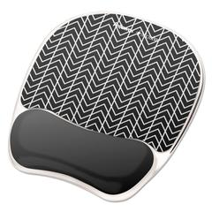 Photo Gel Wrist Rest with Microban, 7 7/8 x 9 1/4 x 7/8, Black/White