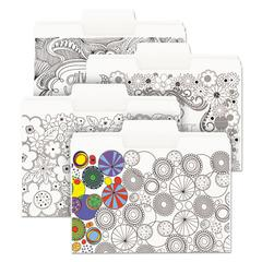 "SuperTab Coloring File Folders, 1/3 Cut, 3/4"" Expansion, Letter, White, 24/Pack"