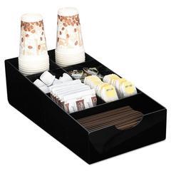 Condiment Tray, 8 1/4 x 16 x 5 1/8, 7-Compartment, Black