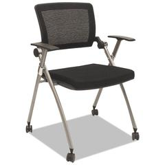 Flex Back Nesting Chair, Black/Gray, 2/Carton