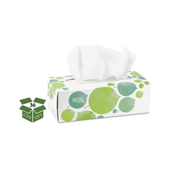 100% Recycled Facial Tissue, 2-Ply, 175/Box, 36/Carton