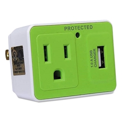 Travel Surge Protector, 1 Outlet/1 USB Charging Port, 306 Joules, White