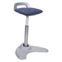 Sit to Stand Perch Stool, Blue with Silver Base