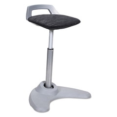 Sit to Stand Perch Stool, Black with Silver Base