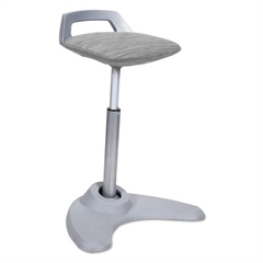Sit to Stand Perch Stool, Gray with Silver Base