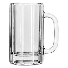 "Glass Mugs and Tankards, Paneled Mug, 16oz, 6 1/8"" Tall, 12/Carton"