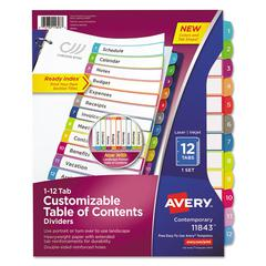 Ready Index Table of Contents Dividers, Multicolor Tabs, 1-12, Letter