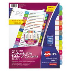 Ready Index Table of Contents Dividers, Multicolor Tabs, Jan-Dec, Letter