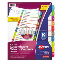 Ready Index Table of Contents Dividers, Multicolor Tabs, 1-10, Letter
