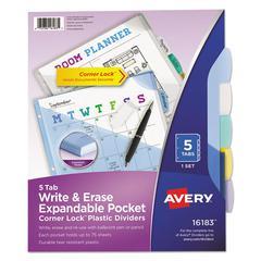 Write & Erase Big Tab Plastic Dividers, 5-Tab w/Corner Lock & Exp Pocket, Letter
