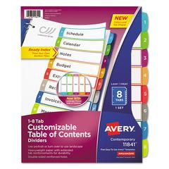 Ready Index Table of Contents Dividers, Multicolor Tabs, 1-8, Letter