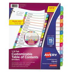 Ready Index Table of Contents Dividers, Multicolor Tabs, 1-15, Letter
