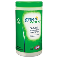 Green Works Compostable Cleaning Wipes, 7 x 7 1/2, Original Scent, 62/Canister, 6/Carton