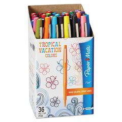 Point Guard Flair Bullet Point Stick Pen, Tropical Inks, .7mm, 36/Set