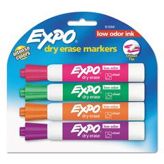 Low Odor Dry Erase Marker, Chisel Tip, Assorted, 4/Set