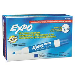 Low Odor Dry Erase Marker, Bullet Tip, Blue, Dozen
