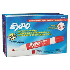 Low Odor Dry Erase Marker, Bullet Tip, Red, Dozen