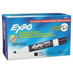 Low Odor Dry Erase Marker, Bullet Tip, Black, Dozen