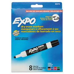 Low Odor Dry Erase Marker, Chisel Tip, Assorted, 8/Set