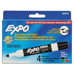 Low Odor Dry Erase Marker, Bullet Tip, Assorted, 4/Set