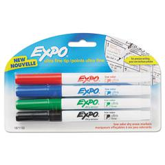 Low-Odor Dry-Erase Marker, Ultra Fine Point, Assorted, 4/Pack