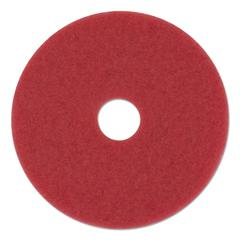 "Standard Buffing Floor Pads, 12"" Diameter, Red, 5/Carton"