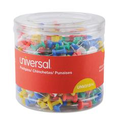 "Colored Push Pins, Plastic, Assorted, 3/8"", 400/Pack"