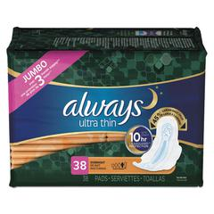 Ultra Thin Overnight Pads with Wings, 38/Pack