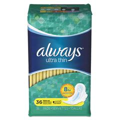 Ultra Thin Pads, Regular, 36/Pack