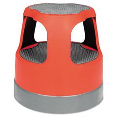 """Scooter Stool, Round, 15"""", Step & Lock Wheels, to 300lb, Red"""