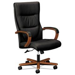 VL844 Series High-Back Swivel/Tilt Chair, Black Leather/Bourbon Cherry