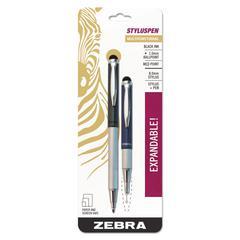StylusPen Telescopic Ballpoint Pen/Stylus, Black Ink, Blue/Gray Barrel