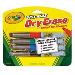 Dry Erase Marker, Chisel Tip, Broad,  Assorted Colors, 4/Set