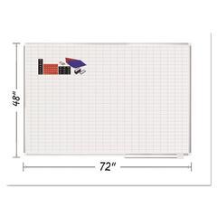 Grid Planning Board w/ Accessories, 1 x 2 Grid, 72 x 48, White/Silver
