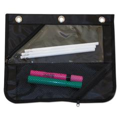 Two-Section Binder Pouch, 11 x 9, Black, 3/Pack