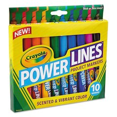 Powerlines Washable Project Markers with Scents, 10/Set