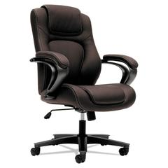 VL402 Series Executive High-Back Chair, Brown Vinyl